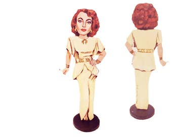 Joan Crawford Hand Painted 2D Art Figurine