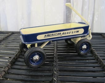 Vintage 90's miniature working detailed die cast metal  reproduction of Kiddie Car Classic  Airflow coaster wagon