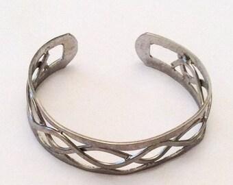 Vintage Pewter Bangle, Open Metalwork Bracelet, Vintage Jewelry, SUMMER SALE