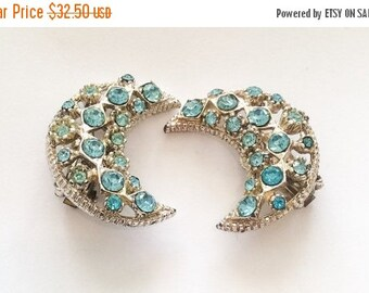 Crescent Moon Blue Rhinestone Earrings, Victorian Revival, Vintage Jewelry, CHRISTMAS SALE