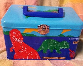 Vintage 1987 Sanrio Dinomighties Dinosaurs metal tin box with handle VERY RARE!