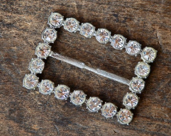Vintage Rhinestone Buckle Art Deco Clear Round Stones Pot Metal Silver Tone Large Repurpose Accessory 1930's // Vintage Costume Jewelry