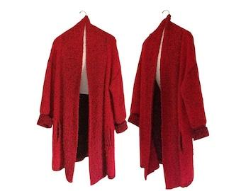 Long Cardigan Sweater Long Sweater Red Cardigan Red Sweater Maxi Cardigan 80s Sweater Maxi Sweater Oversize Sweater Cozy Sweater Women