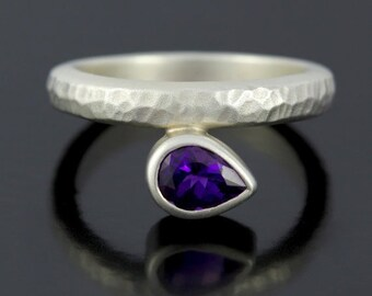 SALE 2 days only Deep Purple Amethyst February Birthstone Ring. Sterling Silver Birthstone Ring. Amethyst Solitaire Ring- CS1526