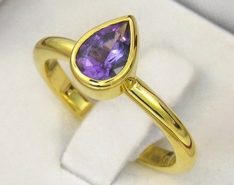 SALE 2 days only 14K Yellow gold over sterling silver purple amethyst band ring. in your ring size