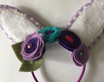Easter Bunny Ear Headband with Flowers in Purple
