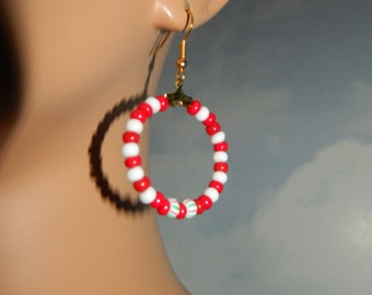 Christmas Candy Cane Colored Beaded Hoops Earrings