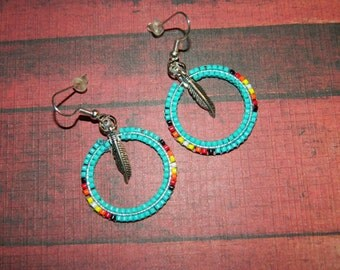 "Native American Turquoise 1-1/4"" Beaded Hoops"