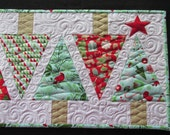 Christmas Winter Tree Quilted Table Runner Aqua Red Green