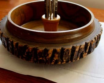 Vintage Nut Bowl and Tools Wood Bark Rustic Adirondack Lodge Camp