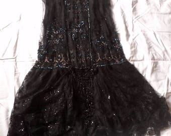 Rare 1920s beaded dress // 1920s lace dress // Twenties dress // flapper dress // 20s black dress