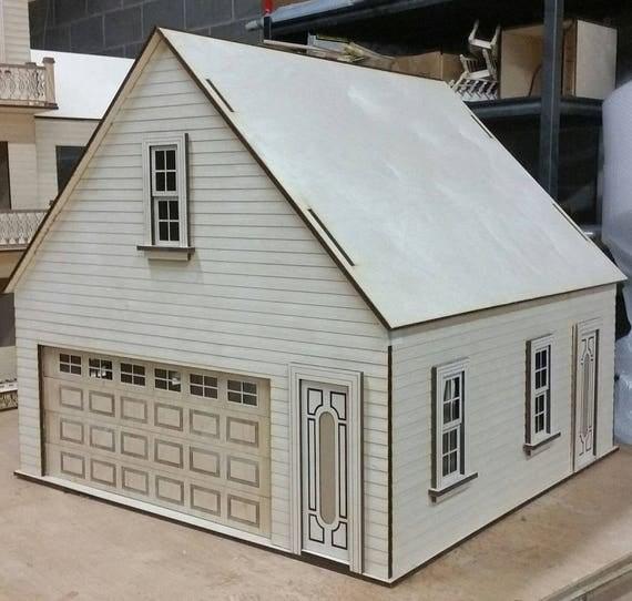 Scale One Inch, Craftsman 2 Car Dollhouse Miniature Garage/Workshop Kit, Scale One Inch