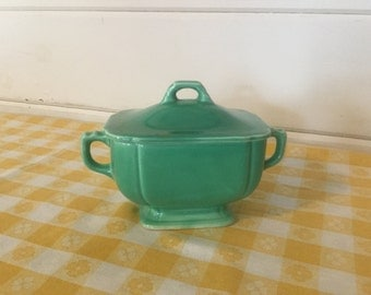 Vintage Green Riverera Covered Sugar Bowl