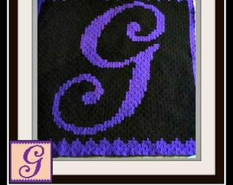 Letter G Kids Afghan, C2C Graph, Crochet Pattern