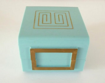 Mod Turquoise Celluloid Ring Box Vintage Ring Box Holder Display Wedding Ring Box from TreasuresOfGrace