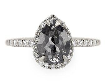 Black Pear Rose Cut Diamond Engagement Ring, Fiona Setting