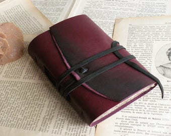 travel little journal, burgundy leather journal, medieval style, vintage style paper,