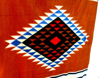 """Native American Indian blanket Throw 48 x 34""""  Brown red Blue whipstitch"""