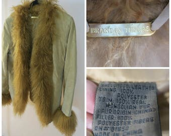 Jacket .Camel Suede Leather w Mongolian Fur Trim Quilted satin like lining sz M or 8  SALE
