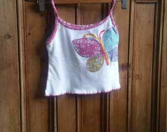 Girls vintage Liberty vest top age 6 years butterfly applique ribbon floral tops sleeveless white clothing Dolly Topsy Etsy UK