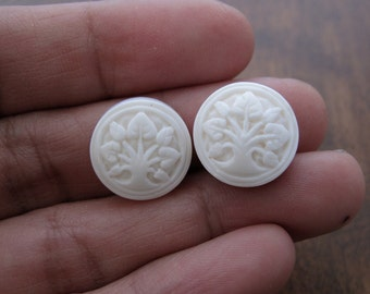 Pair  of small carved tree of life cabochon,  flat back, Cameo, Buffalo bone carving, Jewelry making Supplies S7531