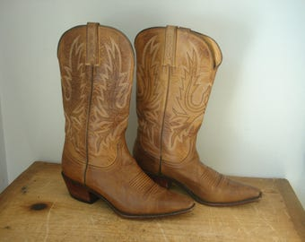 Vintage Charlie Horse Cowboy Boots/Hand-Made Leather Cowboy Boots/Ladies Cowboy Boots