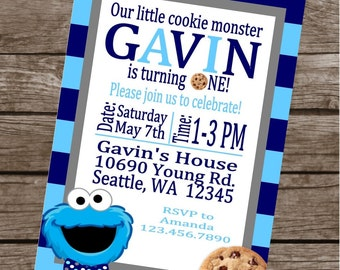 COOKIE MONSTER Inspired Happy Birthday Party or Baby Shower Invitations Set of 12 {1 Dozen}