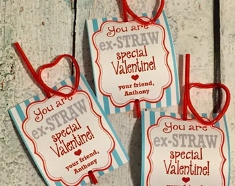 INSTANT DOWNLOAD - Silly Straw Valentine's Day Treat Tags Cards