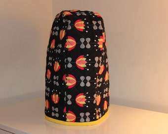 6 quart Lift-Up Bowl - Quilted Mixer Cover for Kitchen-Aid - Black Red Yellow Modern Flower - Christmas Birthday