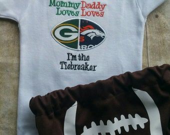 House Divided Shirt I'm the Tiebreaker and football diaper cover- Can customize to any team.
