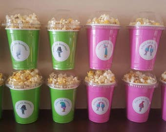 12 Trolls popcorn boxes, containers, personalized party favors with clear dome lid