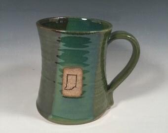 Indiana Beer Stein - handmade ceramic mug- 24 oz - Ocean Green- Indiana stamp image - Ready to ship - ceramics - pottery - stoneware
