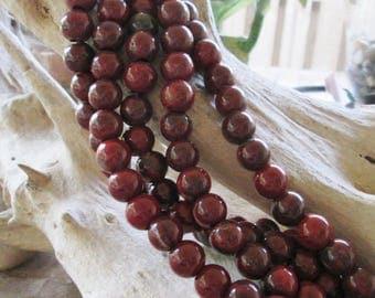 Large 4 mm Hole 12 MM Round Rainbow Jasper Red Gemstone 9 Beads Fit Leather