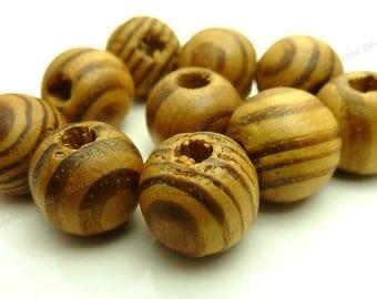 20 Burlywood Round Wood Beads - 12mm Beads - Sandy Brown Beads, Dark Brown Wood Beads - BT2