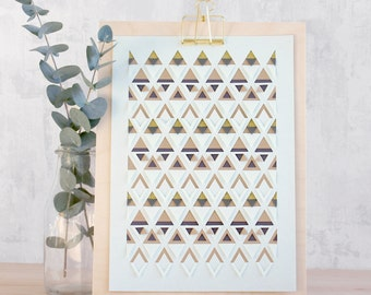Triangle Papercut - Mint and Gold