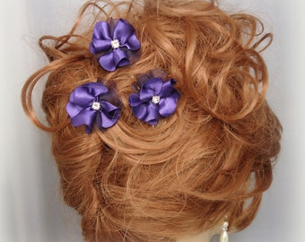 Purple Flower Pins, Set of 3, Mini Flower Pins, Flower Hair Pins, Wedding Accessory, REX14-204