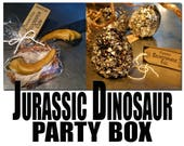 CUSTOM ORDER for Chasonique PECK: Jurassic Dinosaur Party Box of 11 Fossilized Raptor Claw Cookies & 6 Fossilized Bronto Egg Popcorn Treats