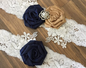 Wedding Garter/Navy Blue Garter Set/ Garter/ Vintage Wedding/ Bridal Accessories/ Lace Garter Set/ Garter Set/Gold Garter Set/Something Blue