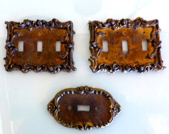 French Antique Bronze Electric Light Switch Plates