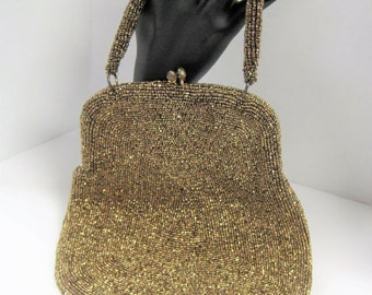 Josef Bronze Beaded Purse - Hand Beaded - Made in Beligum - Bag Prom Wedding