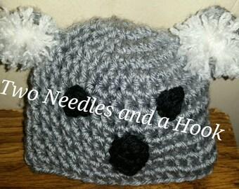 Hand crocheted koala hat/photo prop