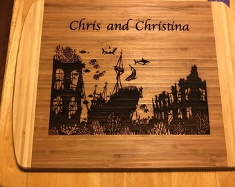 Bamboo Cutting Board Laser Engraved Ship Wrecked under the Sea Personalized