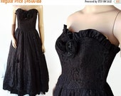 40%OFFSALE 70s 80s Black Prom Dress, Steampunk, Lace, Wedding, Southern Belle