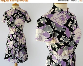 40%OFFSALE 60s 70s Mod Wiggle Dress Abstract Print Novelty Print Purple Black Sears Fashions