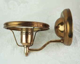 Wall Sconces- Vintage Pair Brass - Electric- Two Wall Sconces, Early American- Cottage- Shabby Chic Decor- No Shade- Antique