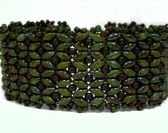 Dark Olive Green Picasso superduo and Cassiopeia cuff bracelet, beaded cuff bracelet, beaded bracelet