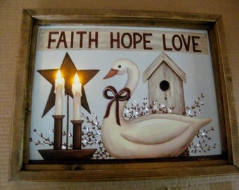 framed FAITH HOPE LOVE led  lighted canvas art picture fiber optic decor sign