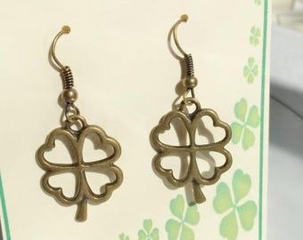 Four Leaf Clover Earrings,Lucky Charm, Earrings,Lucky Clover Earrings,Shamrock Earrings,Lucky Shamrock,California Artist,FREE Shipping