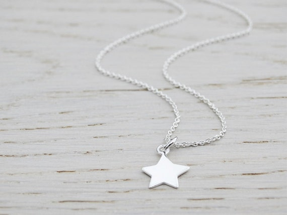 Tiny Silver Star Necklace - Childrens Necklace - Sterling Silver