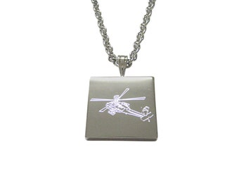 Silver Toned Etched Helicopter Pendant Necklace